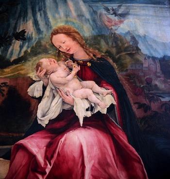 Virgin and child (detail), Matthias Grünewald, Isenheim Altarpiece,1510-15