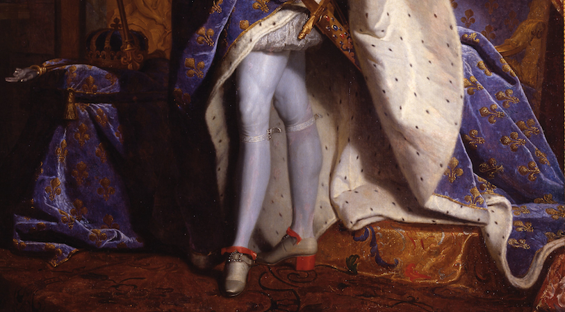 "The king's legs (detail), Hyacinthe Rigaud, Louis XIV, 1701, oil on canvas, 9'2"" x 6'3"" (Musée du Louvre, Paris)"