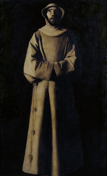Francisco de Zurbarán, Saint Francis of Assisi According to Pope Nicholas V's Vision, c. 1640, oil on canvas, 110.5 x 180.5 cm (Museum Nacional d'Art de Catalunya, Barcelona, Spain)