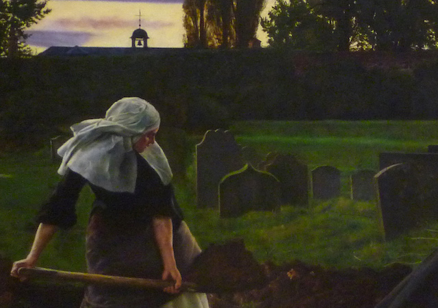 Nun (detail), Sir John Everett Millais,The Vale of Rest: where the weary find repose, 1858 (partially repainted 1862), oil on canvas, 102.9 x 172.7 cm (Tate Britain, London)