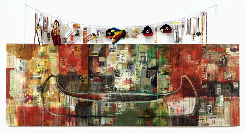 Jaune Quick-to-See Smith, Trade (Gifts for Trading Land with White People), 1992, oil paint and mixed media, collage, objects, canvas, 152.4 x 431.8 cm (Chrysler Museum of Art, Norfolk, Virginia) © Jaune Quick-to-See Smith