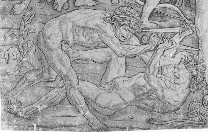 "Detail, Antonio Pollaiuolo, Battle of Ten Nudes (or Battle of Nude Men), c. 1465, engraving, 15-1/8 x 23-3/16"" / 38.4 x 58.9 cm (The Metropolitan Museum of Art)"