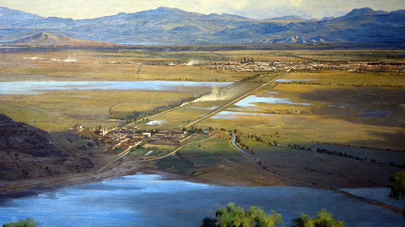 Basilica of Guadalupe (bottom left), edge of Lake Texcoco (middle ground) and Mexico City (detail), José María Velasco, The Valley of Mexico from the Santa Isabel Mountain Range, 1875, oil on canvas, 137.5 x 226 cm (Museo Nacional de Arte, INBA, Mexico City)