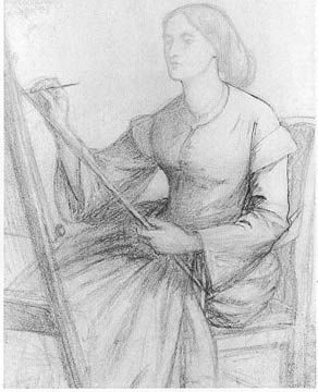 Dante Gabriel Rossetti, Elizabeth Siddal painting at an easel, pencil on paper, 1850s, 25 x 20.3 cm (private collection)