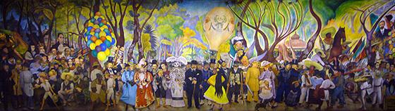 Diego Rivera, Dream of a Sunday Afternoon in Alameda Central Park (Sueño de una tarde dominical en la Alameda Central), 1947, 4.8 x 15 m (Museo Mural Diego Rivera, originally, Hotel del Prado, Mexico City)