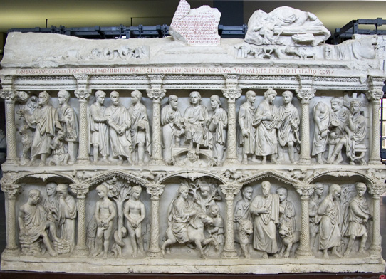 Sarcophagus of Junius Bassus, marble, 359 C.E. (Treasury of Saint Peter's Basilica)