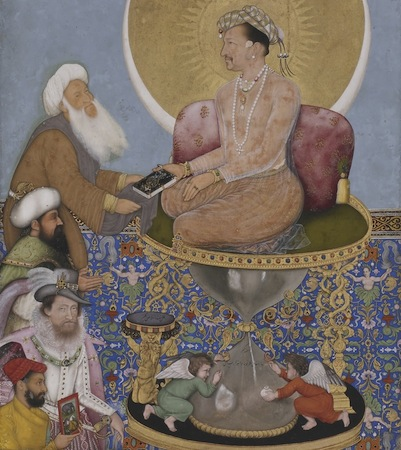 "Emperor on a pedestal (detail), Bichtir, Jahangir Preferring a Sufi Shaikh to Kings from the ""St. Petersburg Album,"" 1615-1618, opaque watercolor, gold and ink on paper, 18 x 25.3 cm (Freer