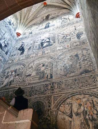 View of stairway murals, Convento de San Nicolás de Tolentino, 1546 and after, Actopan, Hidalgo, Mexico (photo: ismael villafranco, CC BY 2.0)