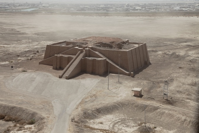 Ziggurat of Ur, c. 2100 B.C.E. mud brick and baked brick, Tell el-Mukayyar, Iraq (largely reconstructed)