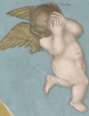 "Crying putto (detail), Bichtir, Jahangir Preferring a Sufi Shaikh to Kings from the ""St. Petersburg Album,"" 1615-1618, opaque watercolor, gold and ink on paper, 18 x 25.3 cm (Freer