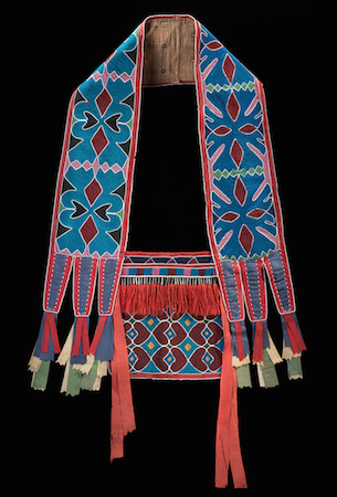 Bandolier Bag, Lenape (Delaware tribe, Oklahoma), c. 1850 C.E., hide, cotton cloth, silk ribbon, glass beads, wool yarn, metal cones, 68 x 47 cm (National Museum of the American Indian, New York)