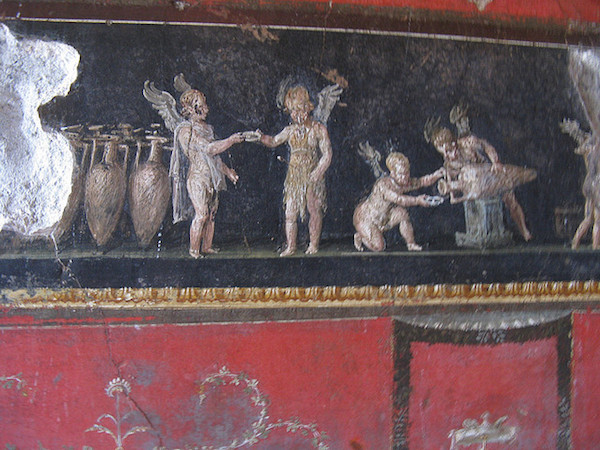 detail of Fourth Style wall painting in the Triclinium, House of the Vettii, Pompeii, photo: Lady Erin (CC BY-NC-ND 2.0)