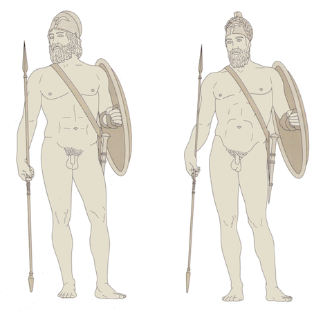 A conjectural restored view of the two warriors