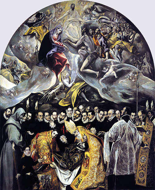 El Greco, 1586, oil on canvas, 460 × 360 cm (Santo Tomé, Toledo, Spain)