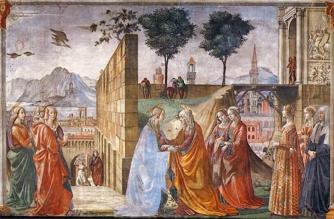 Domenico Ghirlandaio, The Visitation, c. 1485-90, fresco (Cappella Maggiore, Santa Maria Novella, Florence)