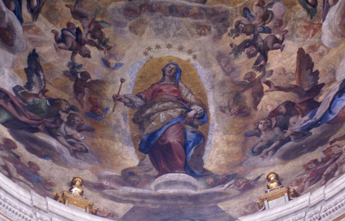 "Virgin Mary (detail) ""clothed with the sun, and the moon under her feet"" (Apocalypse 12:1), Ludovico Cigoli, Assumption of the Virgin, 1612, fresco, Pauline Chapel, Santa Maria Maggiore"