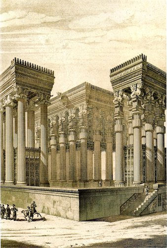 19th century reconstruction of the Apādana, Persepolis (Fars, Iran) by Charles Chipiez