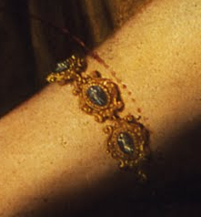 Bracelet (detail), Artemisia Gentileschi, Judith Slaying Holofernes, 1620-21, oil on canvas, 162.5 x 199 cm (Uffizi Gallery, Florence)