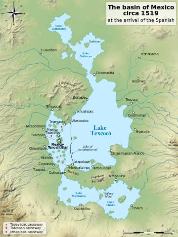 Map of Lake Texcoco, with Tenochtitlan (at left) Valley of Mexico, c. 1519 (created by Yavidaxiu, CC BY-SA 3.0)