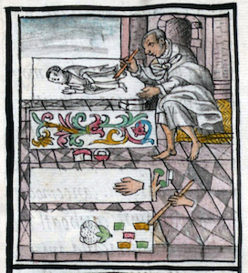 Top scene (left) and middle scene (right) of featherworkers (details), Bernardino de Sahagún and collaborators, General History of the Things of New Spain, also called the Florentine Codex, vol. 3, book 9, f. 64v, 1575-1577, watercolor, paper, contemporary vellum Spanish binding, open (approx.): 32 x 43 cm, closed (approx.): 32 x 22 x 5 cm (Medicea Laurenziana Library, Florence, Italy)