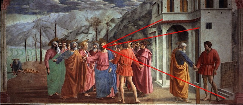 Linear perspective diagram, Masaccio, Tribute Money, c.1427, fresco (Brancacci Chapel, Santa Maria del Carmine, Florence). Christ is the vanishing point. Note too, the use of atmospheric (aerial) perspective in the mountains in the distance.