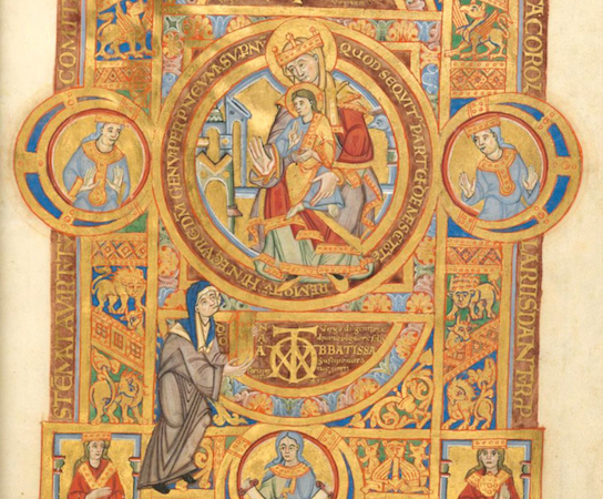 Uta Codex (Uta Presents the Codex to Mary), c. 1020, Munich, Bayerische Staatsbibliothek, Clm. 13601, folio 2, recto