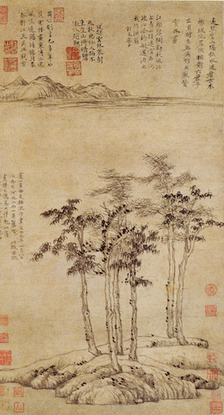 Ni Zan, Six Gentleman, 1345, hanging scroll, ink on paper, 61.9 x 33.3 cm (Shanghai Museum)