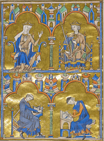 "Top: Blanche of Castile and King Louis IX of France and below: Priest dictating to a scribe, Bible of Saint Louis (Moralized Bible), France, probably Paris, c. 1230, 14 3/4 x 10 1/4"" / 37.5 x 26.2 cm (The Morgan Library & Museum, MS M.240, fol. 8)"