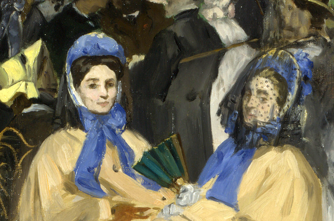 Two women (detail), Édouard Manet, Music in the Tuileries Gardens, 1862, oil on canvas, 76.2 x 118.1 cm (The National Gallery, London)