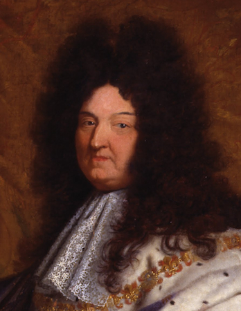 "Face (detail), Hyacinthe Rigaud, Louis XIV, 1701, oil on canvas, 9'2"" x 6'3"" (Musée du Louvre, Paris)"