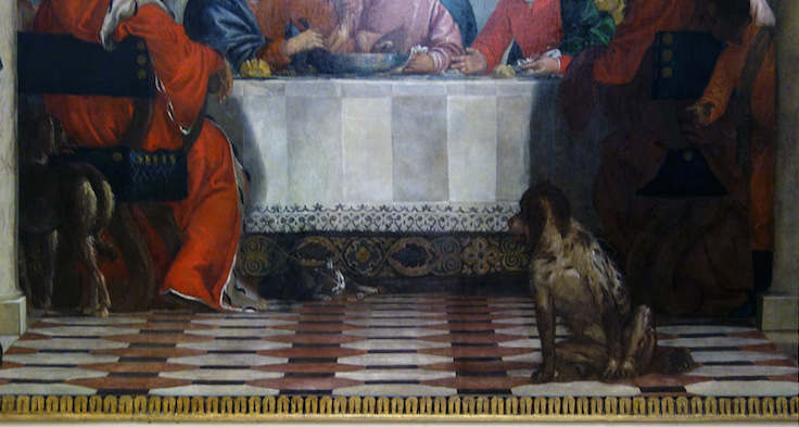 "Dog (detail), Paolo Veronese, Feast in the House of Levi, 1573, oil on canvas, 18' 3"" x 42' (Accademia, Venice)"