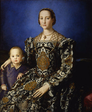 Bronzino, Portrait of Eleonora of Toledo with her son Giovanni, 1544-45, oil on panel, 115.00 x 96.00 cm (Galleria degli Uffizi)