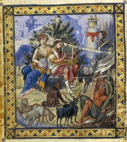 "David Composing the Psalms, from the Paris Psalter, c. 900 C.E. 14-1/8 x 10-1/4"" / 36 x 26 cm (Bibliothèque nationale de France)"