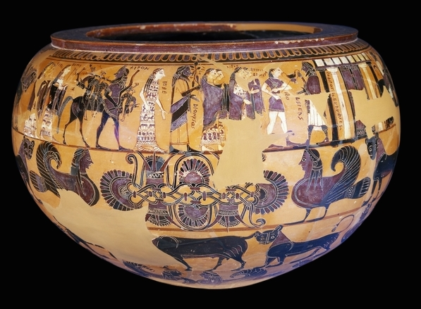Black-figured bowl (dinos) and stand, signed by Sophilos as painter, c. 580 B.C.E., 71 cm high, made in Athens, Greece (The British Museum)