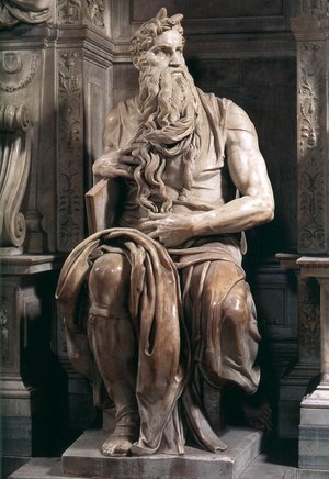 Image result for moses michelangelo