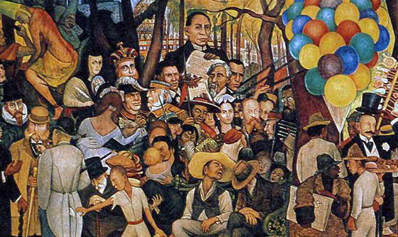 Diego Rivera, detail with Benito Juárez top center, Dream of a Sunday Afternoon in Alameda Central Park (Sueño de una tarde dominical en la Alameda Central), 1947, 4.8 x 15 m (Museo Mural Diego Rivera, originally, Hotel del Prado, Mexico City)