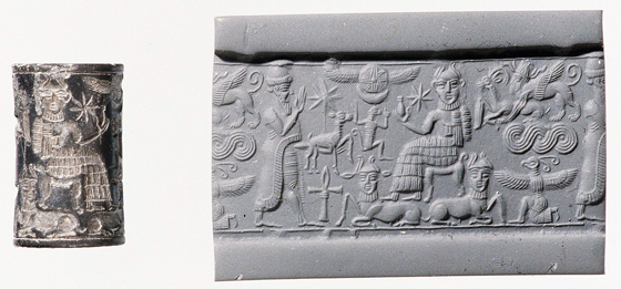 Cylinder Seal (with modern impression), royal worshipper before a god on a throne with bull's legs; human-headed bulls below, c. 1820-1730 B.C.E. (Metropolitan Museum of Art)