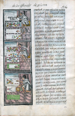 Featherworkers, Bernardino de Sahagún and collaborators, General History of the Things of New Spain, also called the Florentine Codex, vol. 2, book 9, f. 64v, 1575-1577, watercolor, paper, contemporary vellum Spanish binding, open (approx.): 32 x 43 cm, closed (approx.): 32 x 22 x 5 cm (Medicea Laurenziana Library, Florence, Italy)