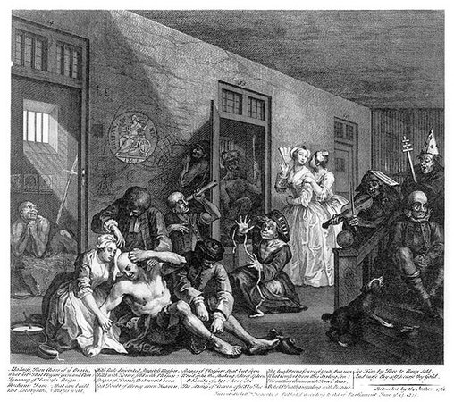 "William Hogarth, A Rake's Progress, plate 8, ""The Madhouse,"" 1735, engraving on paper, 35.5 x 31 cm"