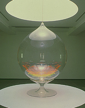 Mariko Mori, Enlightenment Capsule, 1996-1998, plastic, solar transmitting device, fiber optic cables, 108 x 83 x 83 inches