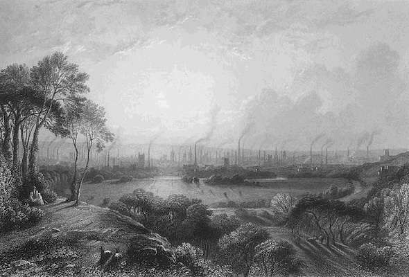 Manchester, England, pictured in 1840 showing the mass of factory chimneys, engraving by Edward Goodall, original title Manchester, from Kersal Moor after a painting of W. Wylde
