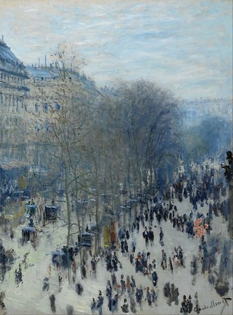 Claude Monet, Boulevard des Capucines, 1873-74, oil on canvas, 80.3 x 60.3 cm (Nelson Atkins Museum of Art, Kansas City, Missouri)