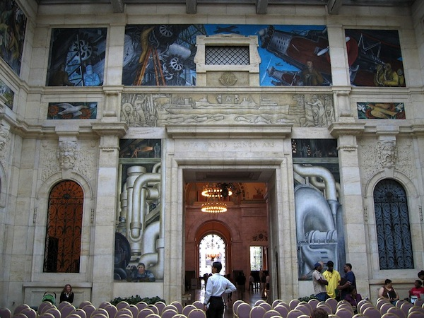 Bombs and planes on the west wall, symbolizing endings and last judgments (detail), Diego Rivera, Detroit Industry murals, 1932-33, twenty-seven fresco panels at the Detroit Institute of Arts (photo: dfb, CC BY-NC-SA 2.0)