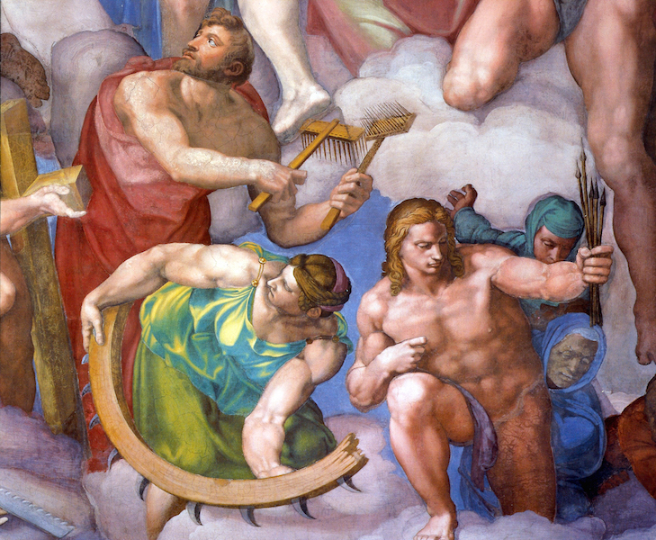 Clockwise: Saint Blaise, Saint Catherine and Saint Sebastian (detail), Michelangelo, Last Judgment, Sistine Chape, fresco, 1534-1541 (Vatican City, Rome)