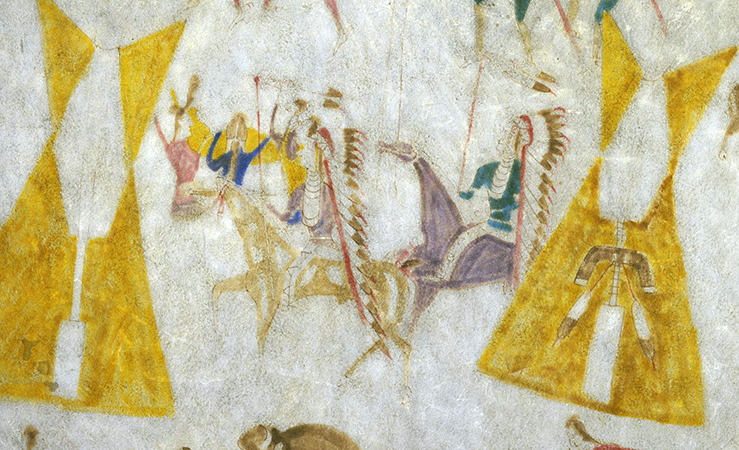 "Warriors returning to camp (detail), Attributed to Cotsiogo, Hide painting of the Sun Dance, c. 1890–1900, Eastern Shoshone, elk hide and pigment, approximately 81 x 78"" (Brooklyn Museum)"