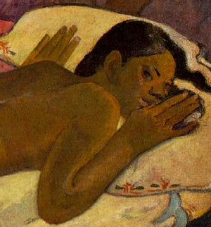 Female figure (detail), Paul Gauguin, Spirit of the Dead Watching, 1892, oil on burlap mounted on canvas, 116.05 x 134.62 x 13.34 cm (Albright-Knox Art Gallery, Buffalo, NY)