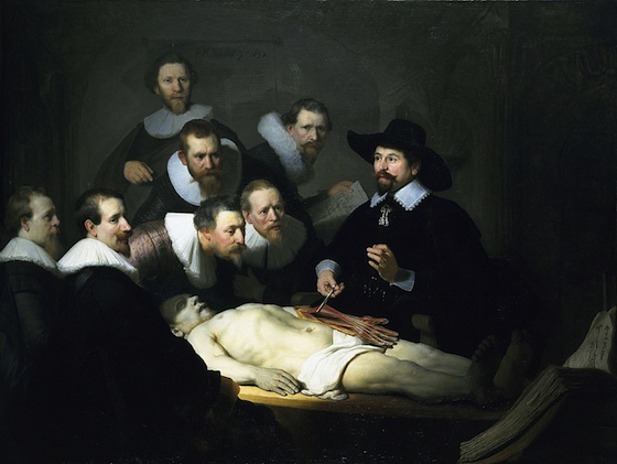 Rembrandt van Rijn, The Anatomy Lesson of Dr. Tulp, 1632, oil on canvas, 169.5 x 216.5 cm (Mauritshuis, The Hague)