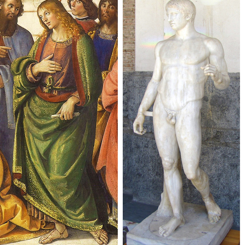 Left: Apostle standing in contrapposto, from Perugino, Christ Giving the Keys of the Kingdom to St. Peter, Sistine Chapel, 1481-83, Rome and right: Roman copy of Polykleitos, Doryphoros (Spear-Bearer), c. 450-40 B.C.E.,