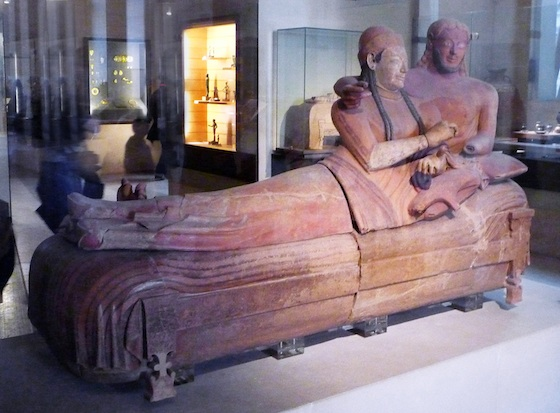 Sarcophagus of the Spouses, Etruscan, c. 520-510 B.C.E., painted terracotta (Musée du Louvre)