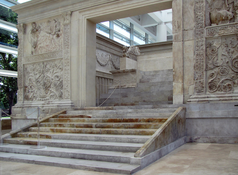 View to the altar, Ara Pacis Augustae (Altar of Augustan Peace) 9 B.C.E. (Ara Pacis Museum, Rome) (photo: Steven Zucker, CC BY-NC-SA 2.0)